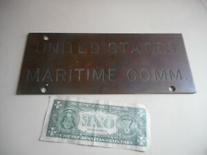 """Antique solid Brass """"United States Maritime Commission"""" Wall Plaque"""