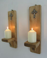 PAIR OF 30CM RECLAIMED PALLET WOOD CHURCH WALL SCONCE CANDLE HOLDER SILVER CROSS