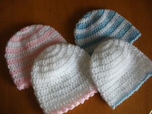 PACK X 2 HANDCROCHETED BABY HATS        TO FIT 0-3 MONTHS