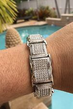 "Mens Large Silver CZ Iced Bling Kodak Black Jewelry Bracelet 8.5"" S#2"