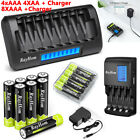 AA AAA Rechargeable Batteries NiMH 1.2V + AA/AAA Battery LCD Smart Fast Charger
