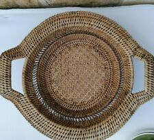 Vintage hand wooven wicker basket fruit or bread bowl with handles