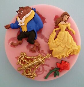 BEAUTY AND THE BEAST 001 SILICONE MOULD FOR CAKE TOPPERS CHOCOLATE, CLAY ETC