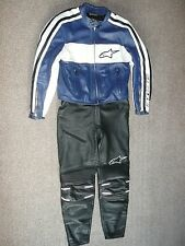 Ladies Alpinestars eu46 Blue Black White LEATHERS MOTORCYCLE Suit Womens uk10