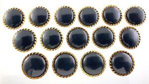 Plastic Black Color Garment Button 1.2in Set Of 15 Pinwheel Pattern 377B