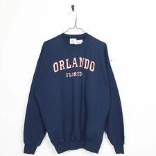 Vintage 90s Orlando Florida Grafik Sweatshirt Blau XL