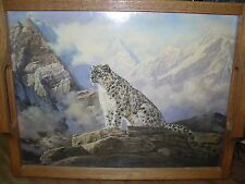 Handcrafted Oak Himalayan Snow Tiger Print Serving Tray