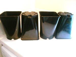 4  BLACK SQUARE PLANT POT POTS .5L free posting