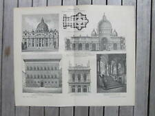 Antique print architecture rome Italy bouwkunde 1902
