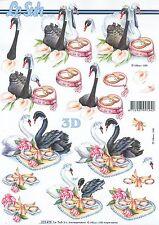 Feuille 3D à découper A4 Mariage Cygne 8215.478 Decoupage Wedding Swan