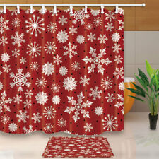 Snowflake On Red Background Bathroom Fabric Shower Curtain Set 180x180cm-71in