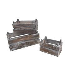 Assorted Wooden Crate Set, Brown, 3-Piece