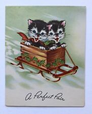 Unused Vintage Christmas Greeting Card Cute Kitty Cat Wood Sleigh Holly Snow