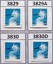 Snowy Egret Complete Set of 4 MNH Stamps Scott's 3829  3829A  3830 and 3830D