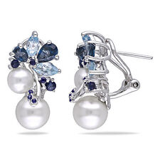Sterling Silver Pearl 3 Ct London Sky Blue Topaz and Sapphire Stud Earrings