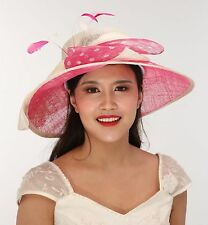 Church Kentucky Derby Carriage Tea Party  Wide Brim Royal Ascot Ivory w Hot Pink