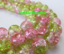 50 x Glass beads crackled crackle light pink green round necklace bracelet 8mm