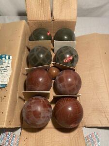 Vintage Sportcraft Bocce Ball Set Yard Game w/ Pallino Made Italy