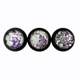 3x 2,5g hochglänzender Glittermix (173), Ungerade NailaEinleger, reflektierend