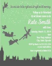Peter Pan Tinkerbell Birthday Party Invitations Invites Personalized Custom