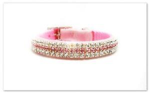 ~ Princess in Pink Velvet ~ Diamond Crystal Rhinestone Dog Collar #189