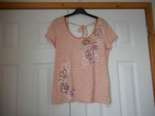 NEW NEXT Size 12 Orange & White Striped Detail Front Short Sleeve Top T Shirt