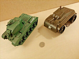 Vintage Toy Army Tank Lot Marx Wind Up Jimson No. 133 Friction Repairs or Parts