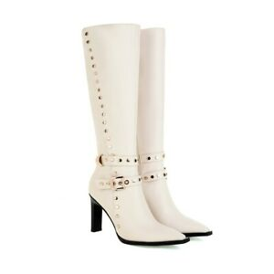 New Womens Buckle Strap Zipper High Heel Knee High Boots Fashionable Studs Shoes