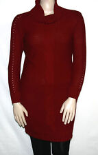 NEW Lennie for Nina Leonard Cable Knit Cowl Neck Sweater Dress LARGE/RED