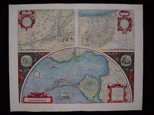 Original Abraham ORTELIUS Map dated 1584 * SPAIN * Baia de Cadiz * Hand colored