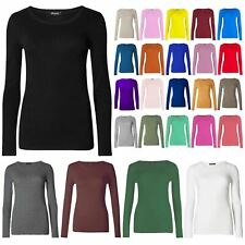 Women Ladies Plain Basic Long Sleeve Round Neck Stretch UK Plus Size T Shirt Top
