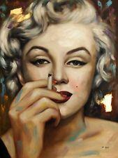 Di CAPRI ORIGINALE dipinto ad olio su tela Marilyn Monroe Ritratto | Black Edition 09