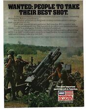 1979 ARMY NATIONAL GUARD Recruiting Artillery Firing Team VTG PRINT AD