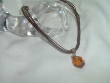 Lia Sophia Leather Cord Amber Glass Pendant Necklace in Gift Box