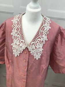 Vintage Lace Collared Dusky Pink Buttoned Blouse