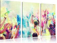 Holi Festival, Gran Color Fiesta 3-Teiler Foto en Lienzo Decoración de Pared