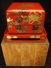 """7 3/4"""" H JAPANESE TAISHO LACQUERED WOOD MOP INLAY OBENTO BOX / ORIGINAL WOOD BOX"""