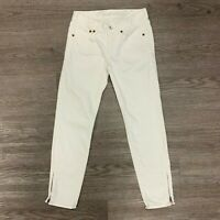Madewell Skinny Cropped Zip Ankle Denim Jeans Women's Size 25 White Mid Rise