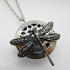 Dragonfly Essential Oil Diffuser Perfume Locket Pendant Necklace Aromatherapy