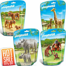 Playmobil Animal Wild Life Zoo Assortment Set Giraffe, Tiger, Rhinoceros Family