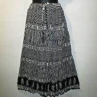 Skirt Fit S M L XL XXL Plus Broomstick Black White Geometric Print Long NWT FF