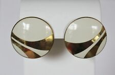 Gold 1980s Naito Geometric Round Laurel Burch Earrings Pierced Cream Enamel