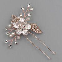 Bridal Hair Comb Crystal Headpiece Hair Clip Wedding Accessory 04231 ROSE GOLD