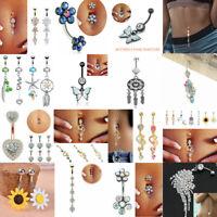 Lots Rhinestone Tassel Navel Dangle Button Belly Ring Bar Body Piercing Jewelry