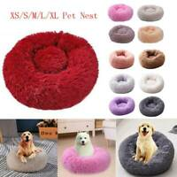 Soft Round Puppy Pet Bed Dog Cat Warm Comfortable Sleeping Fluffy Nest Comfy Bed