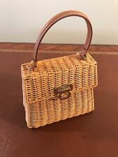Authentic Ferragamo Gancini Hand bag straw Vintage 3403