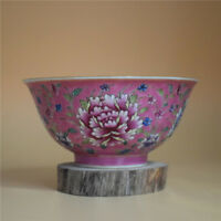 CHINESE OLD MARKED PINK GROUND FAMILLE ROSE PEONY FLOWERS PATTERN PORCELAIN BOWL