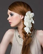 White Lace silky flower crystals Bridal Wedding Headpiece Hair Clip