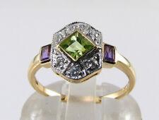 SUFFRAGETTE 9K 9CT GOLD  PERIDOT AMETHYST DIAMOND ART DECO INS RING FREE RESIZE