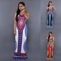 Womens African Print Bodycon Spaghetti Strap Backless Boho Maxi Clubwear Dresses